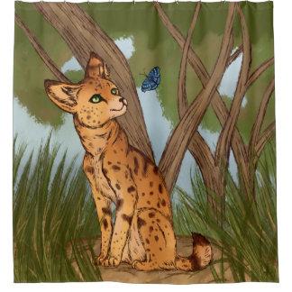 Der Serval und der Schmetterling Duschvorhang