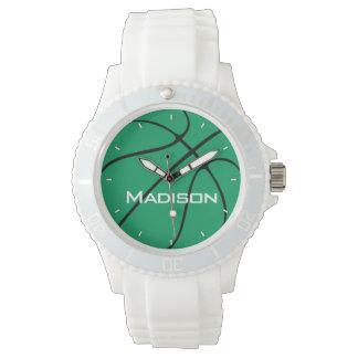 Der Spieler-oder das Team-Namensweiß der grünen Uhr