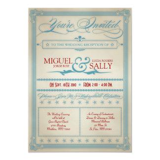 Der Vintage rote weiße u. blaue Hochzeits-Empfang 12,7 X 17,8 Cm Einladungskarte
