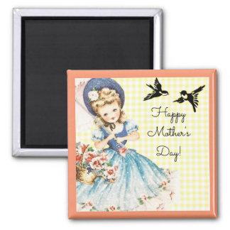 Der Vintage Tag der Mutter Quadratischer Magnet