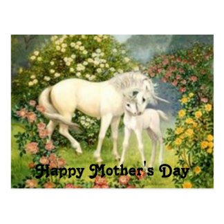 Der Vintage Tag der Unicorns-Mutter Postkarte