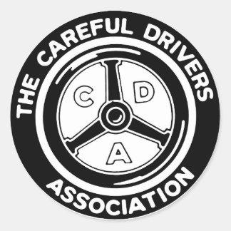 Der vorsichtige Fahrer-Vereinigungs-Aufkleber Runder Aufkleber