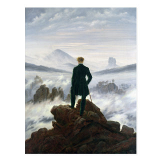 Der Wanderer über dem Meer des Nebels Postkarte