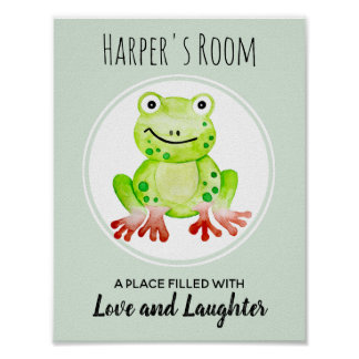 Der Watercolor-Frosch-Dschungel-Kinderzimmer-Kunst Poster