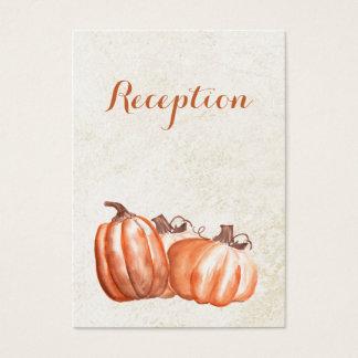 der Watercolorkürbis-Hochzeit im Herbsts-Empfang Visitenkarte