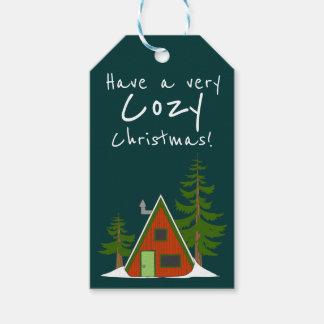 Der Winter: Feiertags-Kabinen-Illustration Geschenkanhänger