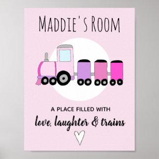 Der Zug-Namen-Kinderzimmer des Baby-Mädchens rosa Poster