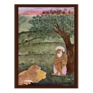 Derwisch mit einem Löwe und einem Tiger. Mughal Postkarte