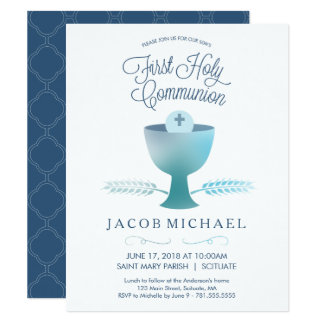 Des ersten heilige Kommunions-Einladungs-Jungen Karte