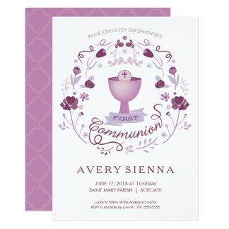 Des ersten heilige Kommunions-Einladungs-Mädchens Karte