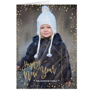 Des glücklichen neuen Jahr-  Foto-Karte Golddes Karte