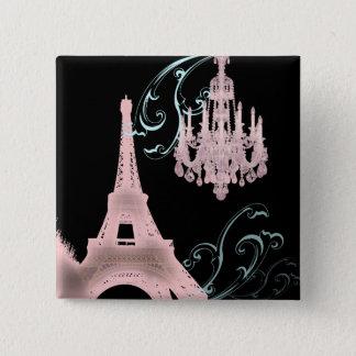 Des Turm-Leuchters Paris Eiffel Vintage Hochzeit Quadratischer Button 5,1 Cm