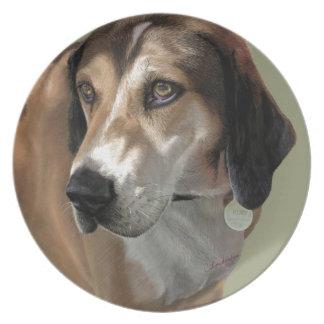 Des Wandererjagdhundes Rudy Catahula handgemaltes Flacher Teller