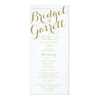Designer-Text-Hochzeits-Programm-Gold Karte