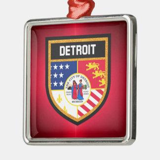 Detroit-Flagge Quadratisches Silberfarbenes Ornament