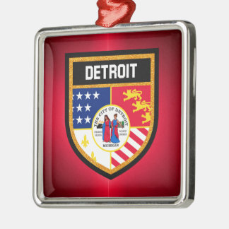 Detroit-Flagge Silbernes Ornament