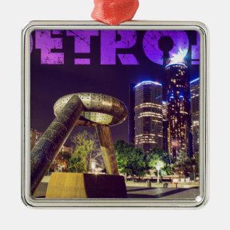 Detroit-Hirsch-Piazza Quadratisches Silberfarbenes Ornament