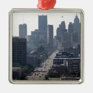 Detroit-Skyline Quadratisches Silberfarbenes Ornament