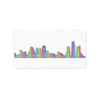 Detroit-Stadt-Skyline Adressaufkleber