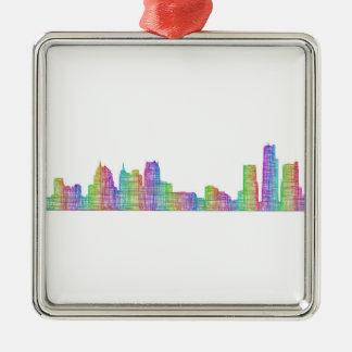 Detroit-Stadt-Skyline Quadratisches Silberfarbenes Ornament