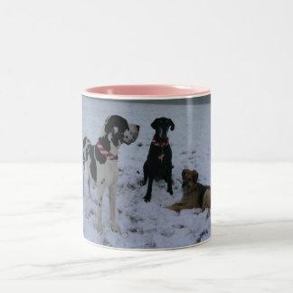 Deutsche Dogge, Great Dane,Hunde,Weihnachten Zweifarbige Tasse