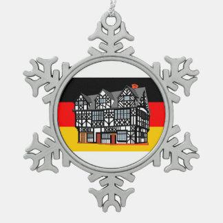 Deutsche Flaggen-Thema-Weihnachtsverzierung Schneeflocken Zinn-Ornament
