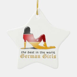 Deutsche Mädchen-Silhouette-Flagge Keramik Stern-Ornament