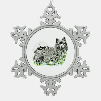 Deutscher Spitz Schneeflocken Zinn-Ornament