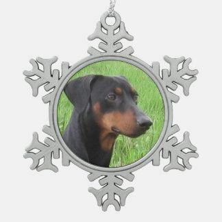 deutsches pinscher.png schneeflocken Zinn-Ornament
