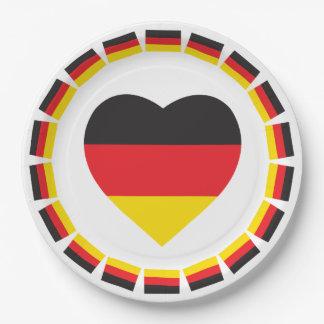 DEUTSCHLAND-HERZ-FORM-FLAGGE PAPPTELLER