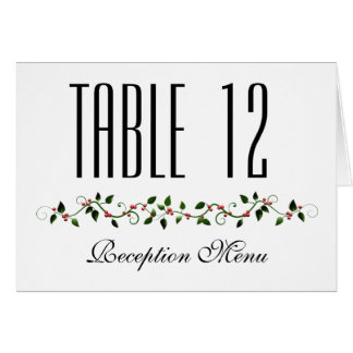 Dezember-Feiertags-Hochzeits-Menü und Tischnummer Karte