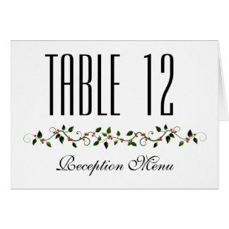 Dezember-Feiertags-Hochzeits-Menü und Tischnummer Mitteilungskarte