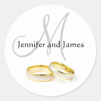 Dezember-Hochzeit nennt Monogramm-Aufkleber Runder Aufkleber