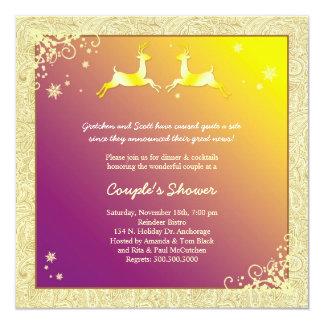 Dezember-Ren-Polterabend für Paare Quadratische 13,3 Cm Einladungskarte