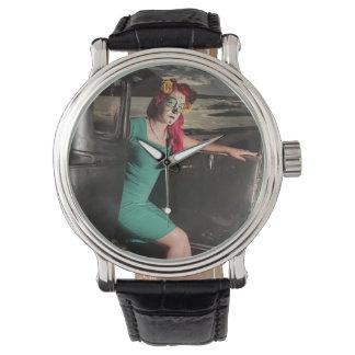 Dia de Los Muertos Pin herauf Mädchen-Tag der Uhr