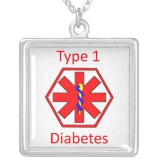 Diabetessymbol Halskette Mit Quadratischem Anhänger