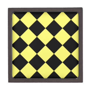 Diag kariertes großes - Schwarzes und Zitrone Schachtel