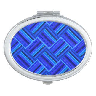 Diagonales Webartmuster der blauen Streifen Taschenspiegel