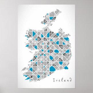 DIAMANT-Art-Grafik Irlands Map| Kristall Poster