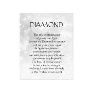Diamant birthstone - April-Gedichtkunst-Leinwand Leinwanddruck