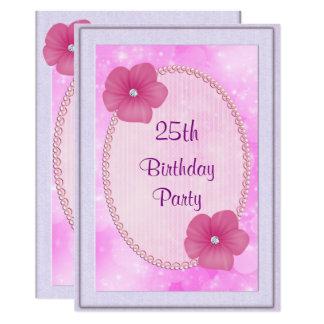 Diamant-Blumen-u. Perlen-25. Geburtstag 12,7 X 17,8 Cm Einladungskarte