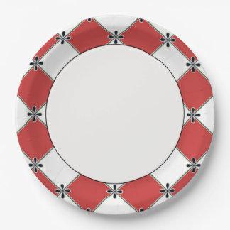 Diamant-Harlekin-Sammlung-Rot-Weiß-Feier Pappteller