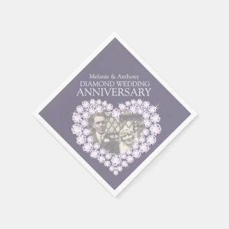 Diamant-Hochzeits-Jahrestagsherz-Fotoservietten Serviette