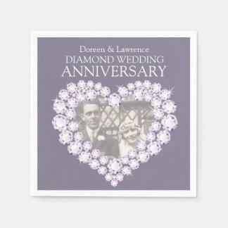 Diamant-Hochzeits-Jahrestagsherz-Fotoservietten Servietten