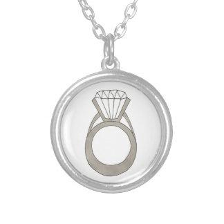 Diamant-Hochzeits-Verlobungs-Ring-Braut-Halskette Halskette Mit Rundem Anhänger