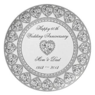Diamant-Hochzeitstag-Melamin-Platte Flache Teller