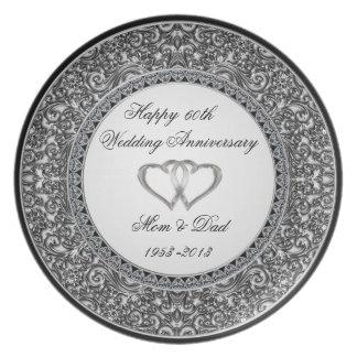 Diamant-Hochzeitstag-Platte Teller