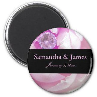 Diamant in der rosa Rosen-persönlichen Hochzeit Runder Magnet 5,7 Cm