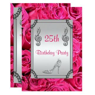 Diamant-Musik-Anmerkung, Stilett u. rosa Rosen 25. 12,7 X 17,8 Cm Einladungskarte