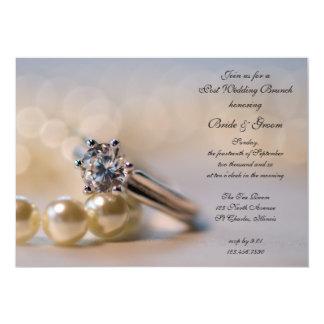 Diamant-Ring-und Perlen-Posten-Hochzeits-Brunch 12,7 X 17,8 Cm Einladungskarte